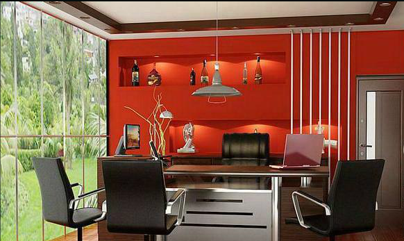 office cabin designs. its a neo modern styled contemporary managing director cabin with red colored back paneled wall for the globus spirits limited group proposed office at new designs
