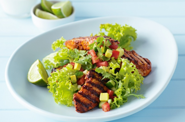 Tandori Chicken with Cucumber, Avocado and Tomato Salsa