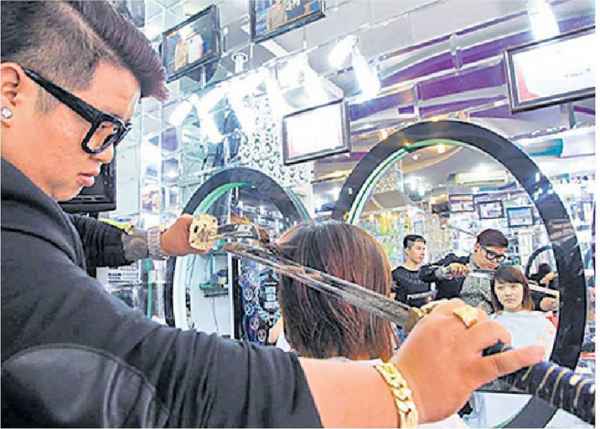 Samurai Swords Used for Stylish Hair Cut.